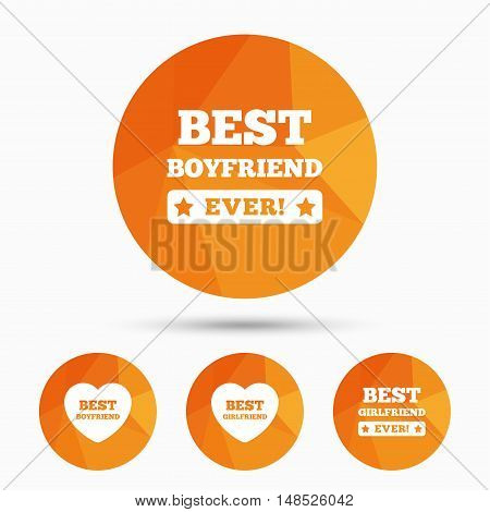 Best boyfriend and girlfriend icons. Heart love signs. Award symbol. Triangular low poly buttons with shadow. Vector
