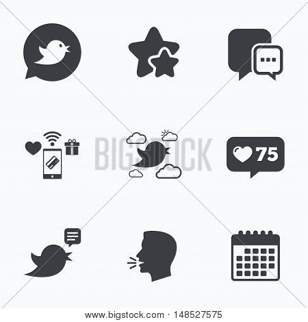 Birds icons. Social media speech bubble. Chat bubble with three dots symbol. Flat talking head, calendar icons. Stars, like counter icons. Vector