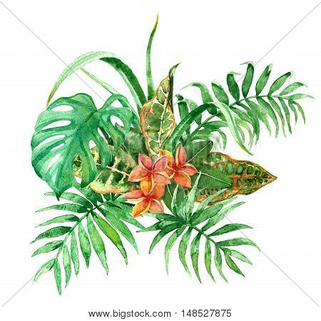 Raster colorful tropical bunch of flowers and leaves. Decoration and design element illustration for floristry wedding celebration themes part for postcards and printed things.