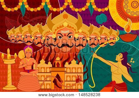 vector illustration of Happy Dussehra festival background forIndia holiday
