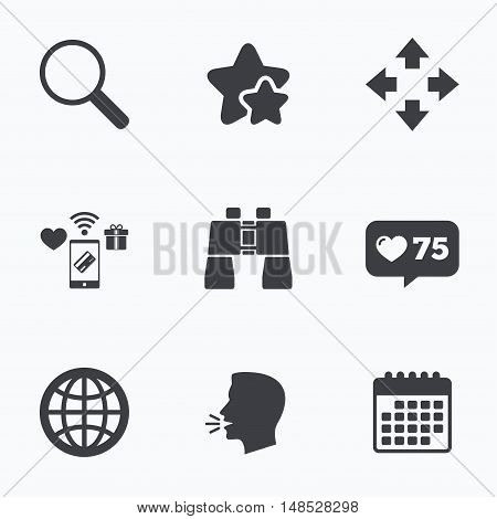 Magnifier glass and globe search icons. Fullscreen arrows and binocular search sign symbols. Flat talking head, calendar icons. Stars, like counter icons. Vector