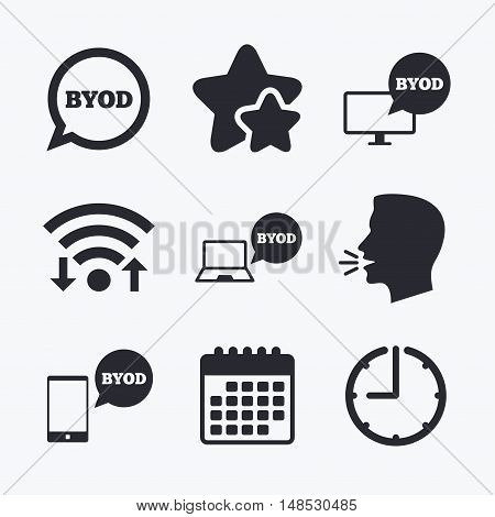 BYOD icons. Notebook and smartphone signs. Speech bubble symbol. Wifi internet, favorite stars, calendar and clock. Talking head. Vector