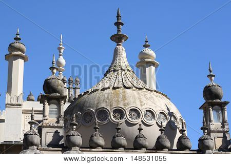 Domes of the famous Eastern inspired Brighton Pavilion, built in Victorian times for Royal seaside escape
