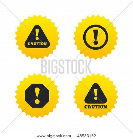 Attention caution icons. Hazard warning symbols. Exclamation sign. Yellow stars labels with flat icons. Vector