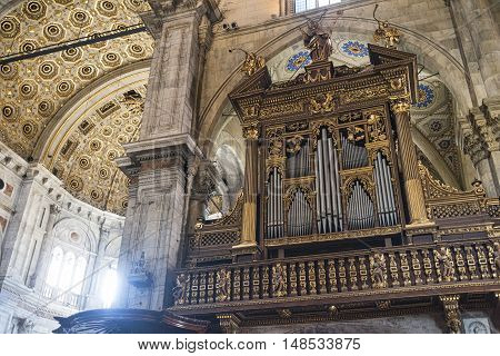 COMO, ITALY - JUNE 27, 2016: Como (Lombardy Italy): interior of the medieval cathedral built from 1396 to 1770. The organ