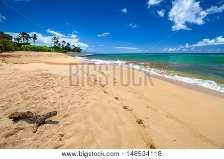 Sunset Beach is on the North Shore of Oahu in Hawaii and known for big wave surfing during the winter season. In summer, the sea of Sunset Beach is calm and suitable for snorkeling in the coral reef.