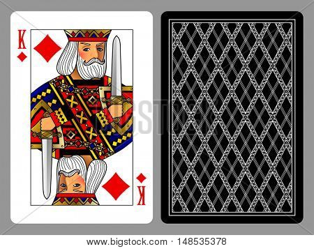King of Diamonds playing card and the backside background. Colorful original design