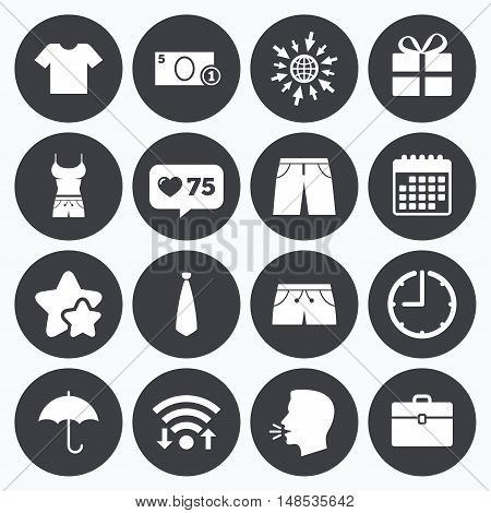 Calendar, wifi and clock symbols. Like counter, stars symbols. Clothing, accessories icons. T-shirt, business case signs. Umbrella and gift box symbols. Talking head, go to web symbols. Vector