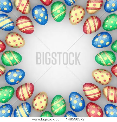 Decorated easter eggs on white background as a frame copyspace ,  3d illustration
