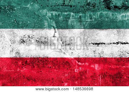 Flag Of Gorzow Wielkopolski, Poland, Painted On Dirty Wall