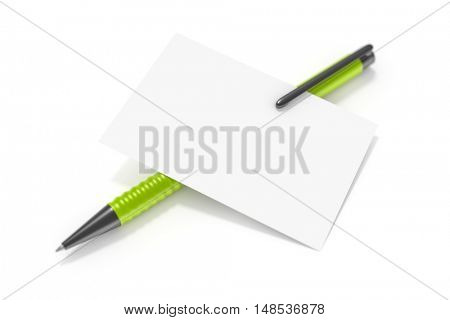 3d rendering of a blank business card and a green ball pen
