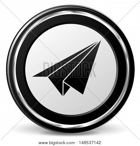 Illustration of paper air plane sign on metal icon