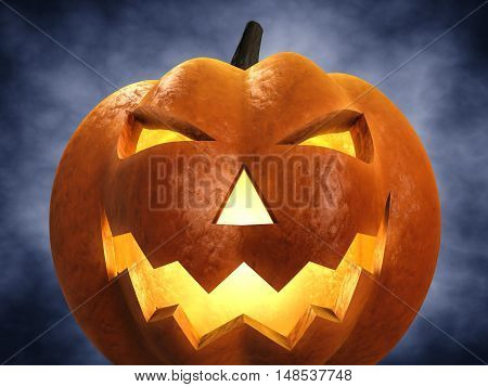 Halloween carved pumpkin , Jack-o-lantern , 3d illustration