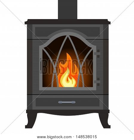 Metal fireplace in flat style isolated on white background. Vector illustration of hearth.