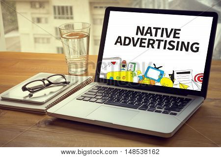 NATIVE ADVERTISING businessman working use man touch