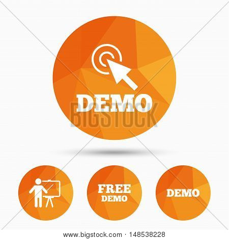 Demo with cursor icon. Presentation billboard sign. Man standing with pointer symbol. Triangular low poly buttons with shadow. Vector