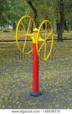 Sports equipment for training hands in a city park in autumn