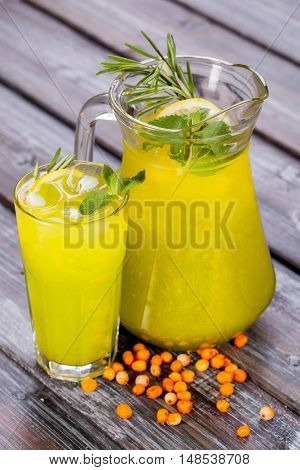 with lemon and herbs buckthorn ice tea