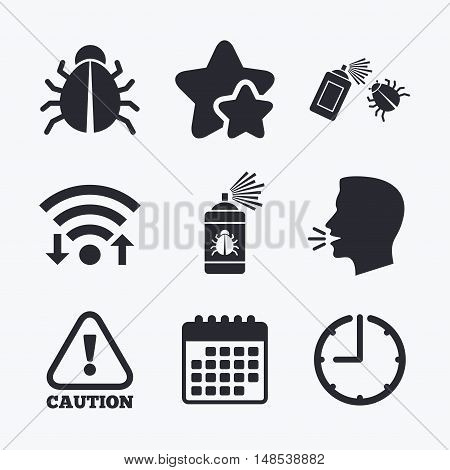 Bug disinfection icons. Caution attention symbol. Insect fumigation spray sign. Wifi internet, favorite stars, calendar and clock. Talking head. Vector poster