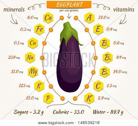 Eggplant infographics nutrition facts calories and analysis. Vector illustration. The content of minerals and vitamins in aubergine. Vector illustration.