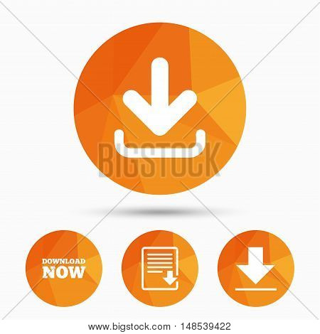 Download now icon. Upload file document symbol. Receive data from a remote storage signs. Triangular low poly buttons with shadow. Vector
