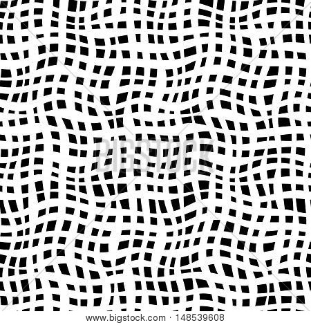 Black and white illusion net waves. Curved net simply seamless monochrome pattern for backdrop textile wrapping paper and other