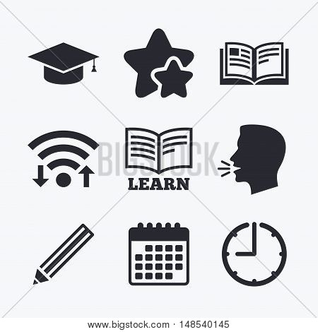 Pencil and open book icons. Graduation cap symbol. Higher education learn signs. Wifi internet, favorite stars, calendar and clock. Talking head. Vector