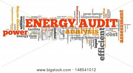 Energy audit - efficiency and consumption analysis word collage. poster