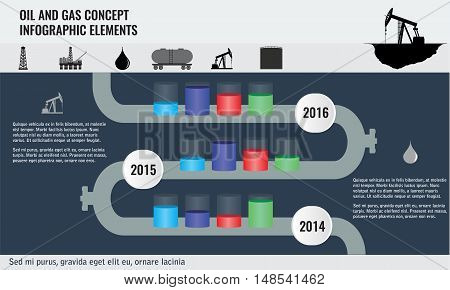 Oil and gas concept infographic design elements with pipeline road and transparent cylinder oil tanks. Oil and gas icons.