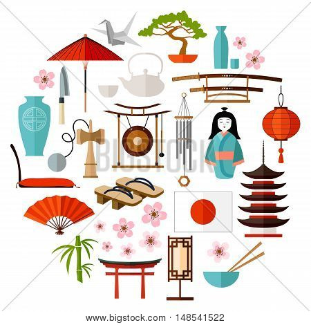 Traditional Japanese icon attributes symbol and symbol. Items for Japanese-style design. Vector illustration.