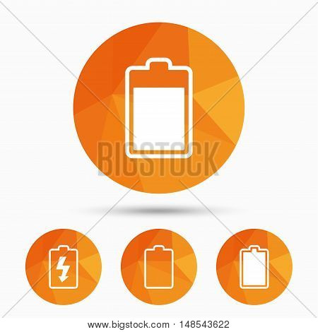 Battery charging icons. Electricity signs symbols. Charge levels: full, empty. Triangular low poly buttons with shadow. Vector