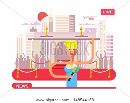 Live news reporter. Microphone and broadcasting, television communication, correspondent vector illustration
