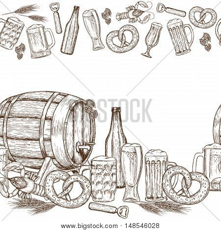 Seamless horizontal borders of sketch vintage beer icons on a white background. Vector stock illustration.
