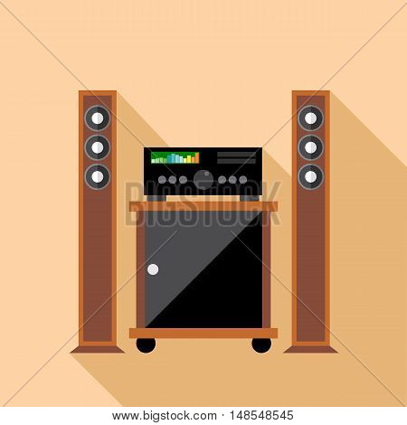 Digital vector hi-fi audio system with monitors and furniture, flat style