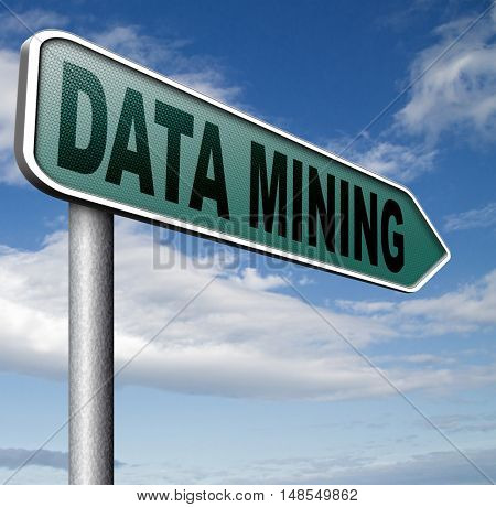data mining analysis and search big data for specific information and statistics 3D, illustration