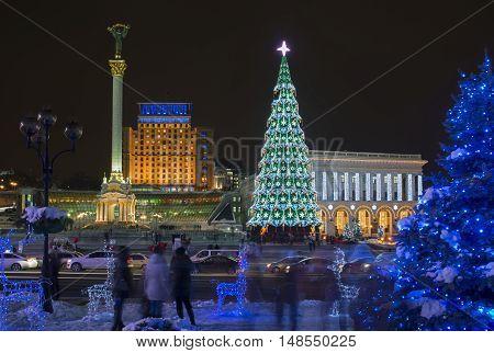 Decoration and illumination of Maidan Nezalezhnosti square (Kiev) during winter holidays.