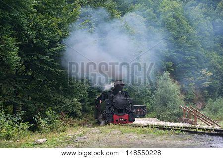 Running wood-burning locomotive of Mocanita (Maramures Romania). Locomotive smoke goes to blue sky.