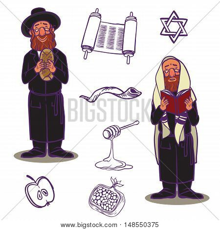 Judaism church traditional symbols icons set and jewish symbols isolated vector illustration. Jewish symbols traditional torah shofar and jewish symbols holiday rosh-ha-shana religious design.