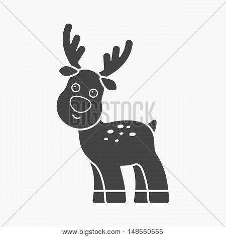 Deer black icon. Illustration for web and mobile.
