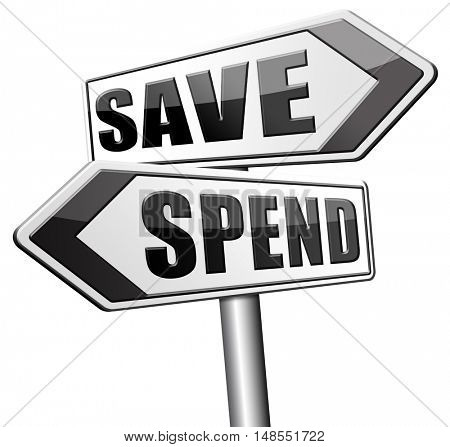 save spend saving or spending money bank deposit or buying 3D, illustration