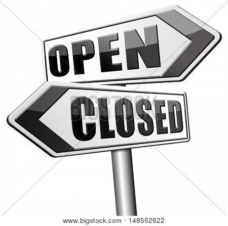 open or close opening hours start of new season no access and closed 3D, illustration