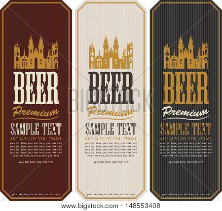 set of beer labels and the image of the old castle