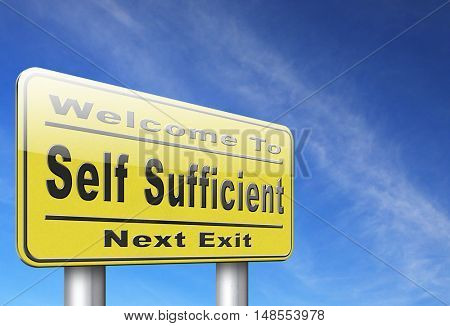 Self sufficiency sustainable renewable energy and agriculture auto sufficient and simple living 3D, illustration