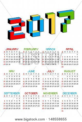 2017 calendar on a white background in style of old 8-bit video games. Week starts from Sunday. Vibrant colorful 3D Pixel Letters. Retro arcade. Holiday vector illustration.