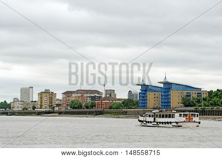 Riverside residence on the Thames river in Surrey Quays London England.