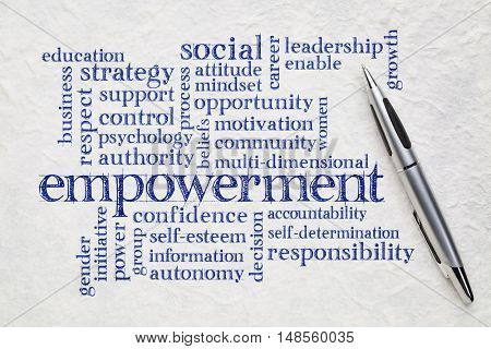 empowerment word cloud - handwriting on a white lokta paper with a pen