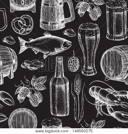 Beer vector seamless pattern. Alcohol beverage hand drawn background. Beer glass, mug, wooden mug, bottle, barrel, snack, hop, wheat, fish, crayfish. Great for bar, pub, menu, oktoberfest