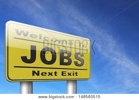 job search vacancy jobs online application help wanted hiring now ad advert advertising road sign billboard 3D, illustration