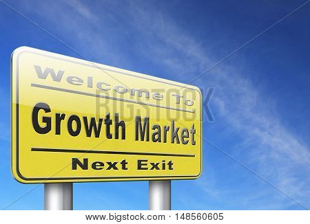 growth market economy growing emerging economies in international and global leading countries, road sign billboard. 3D, illustration
