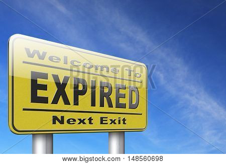 expired sign expiration over date for expired product or food 3D, illustration